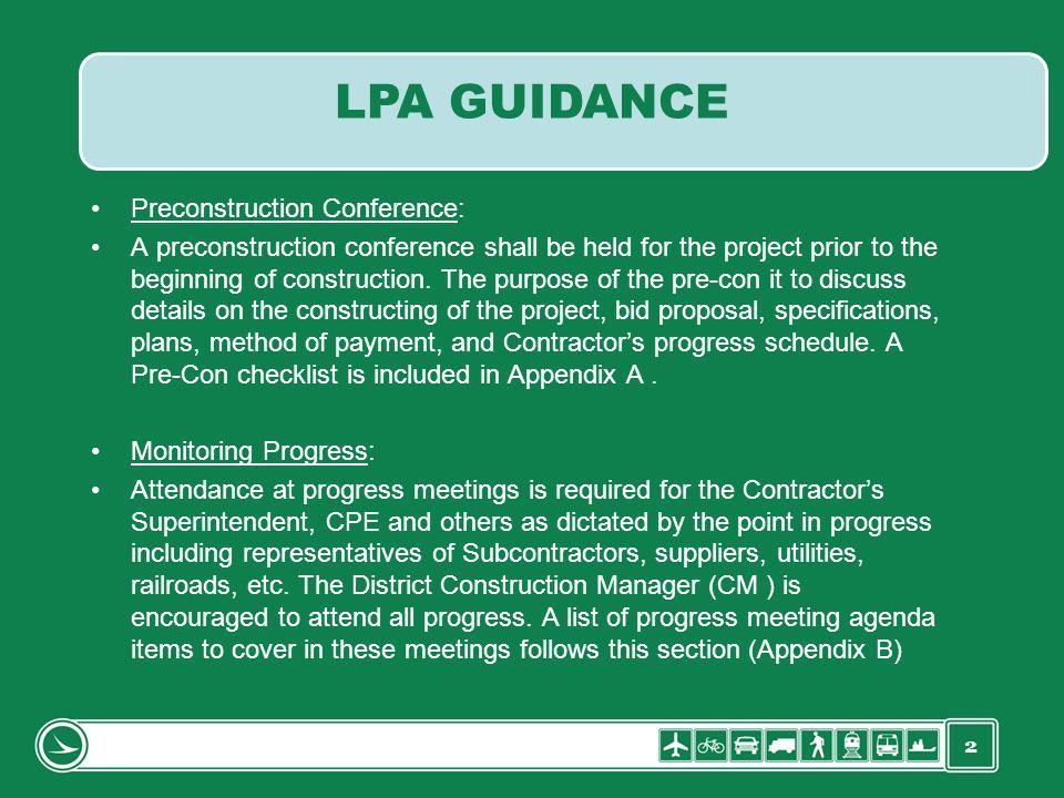 LPA GUIDANCE Preconstruction Conference: