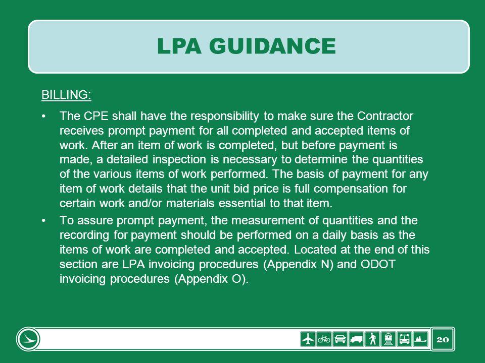 LPA GUIDANCE BILLING: