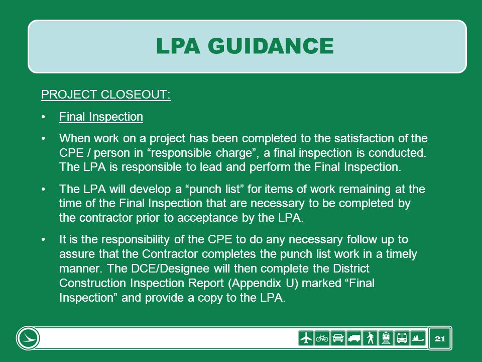 LPA GUIDANCE PROJECT CLOSEOUT: Final Inspection