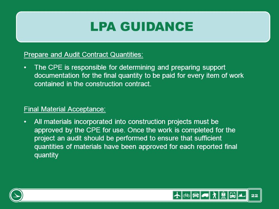 LPA GUIDANCE Prepare and Audit Contract Quantities: