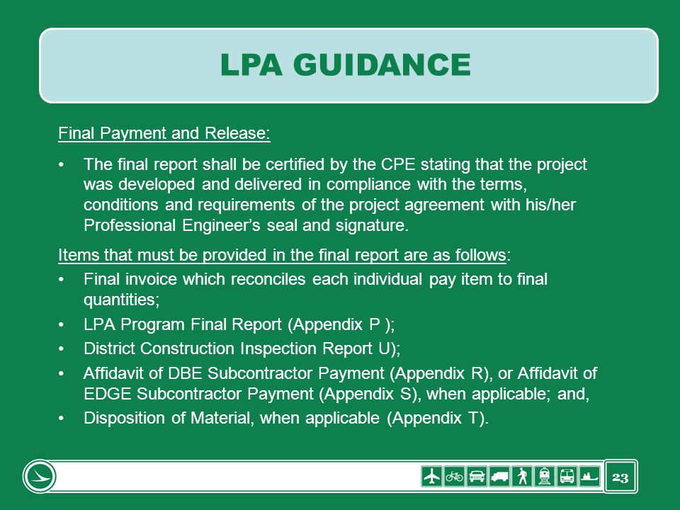 LPA GUIDANCE Final Payment and Release:
