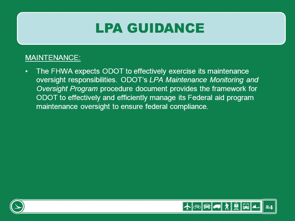 LPA GUIDANCE MAINTENANCE: