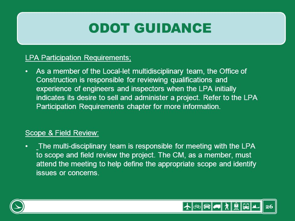ODOT GUIDANCE LPA Participation Requirements;