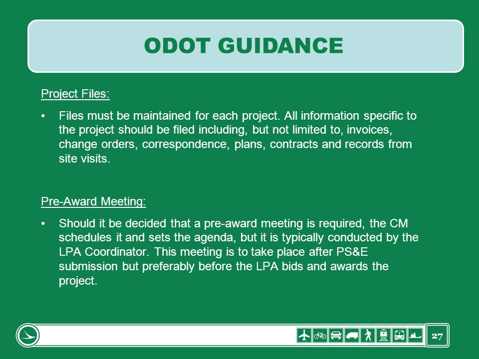 ODOT GUIDANCE Project Files: