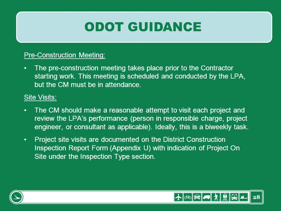 ODOT GUIDANCE Pre-Construction Meeting:
