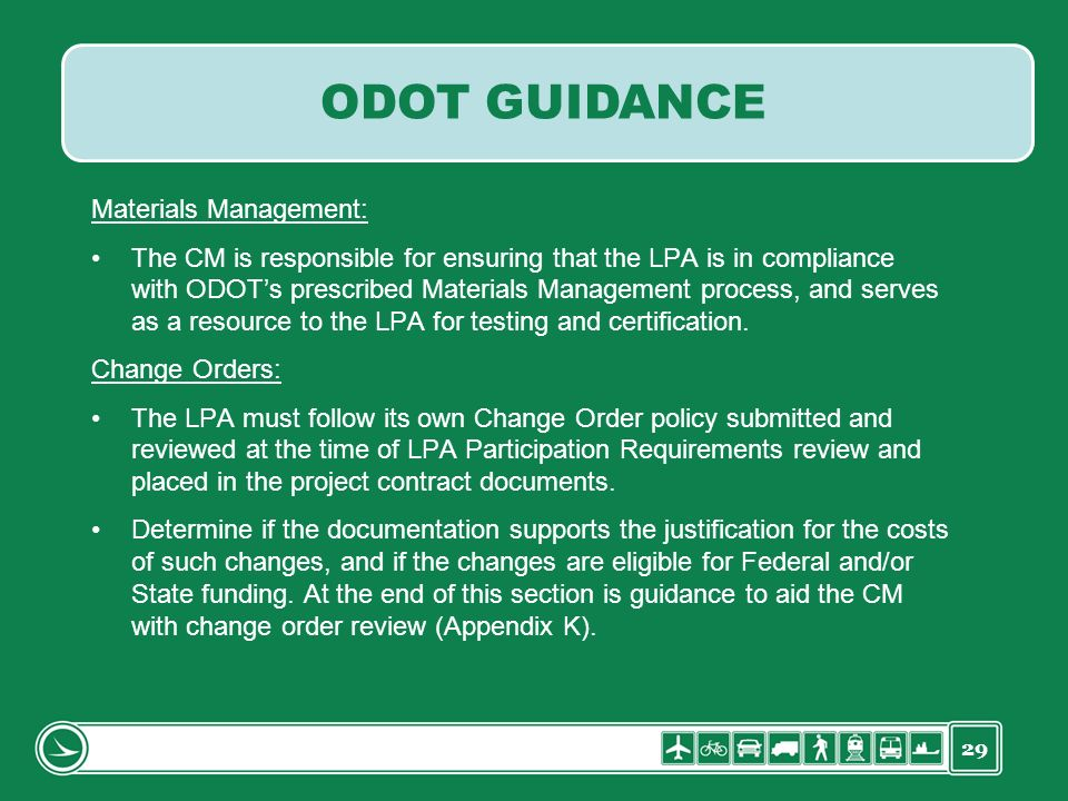 ODOT GUIDANCE Materials Management: