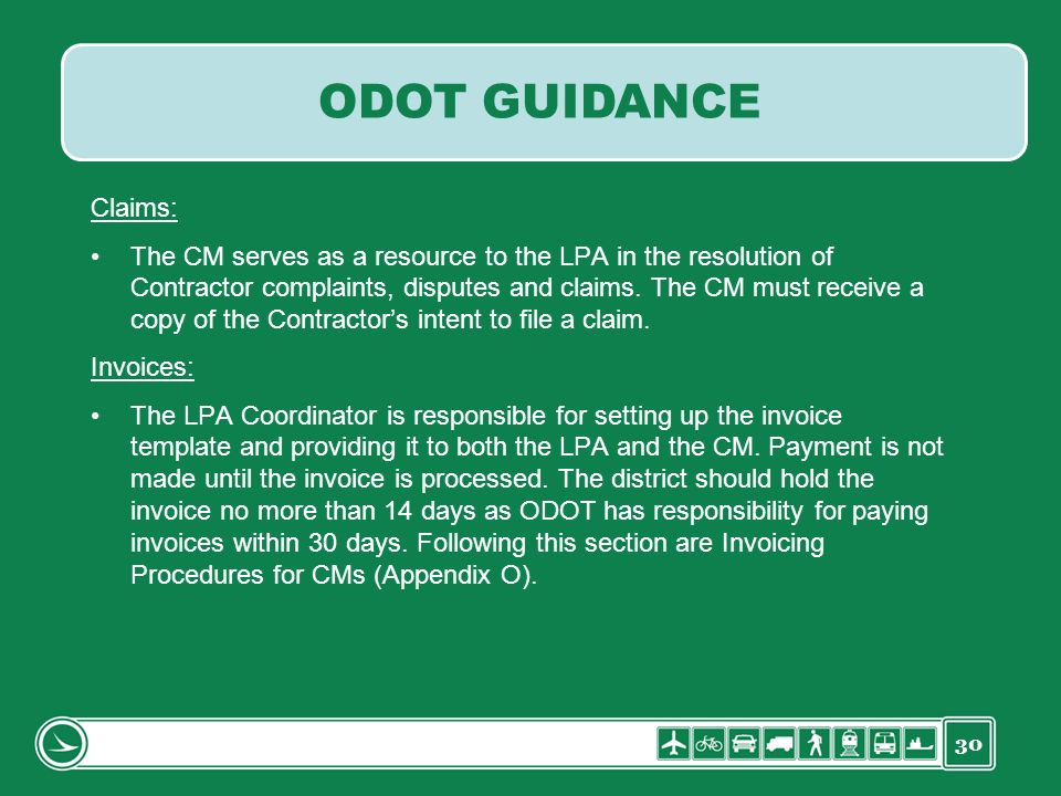 ODOT GUIDANCE Claims: