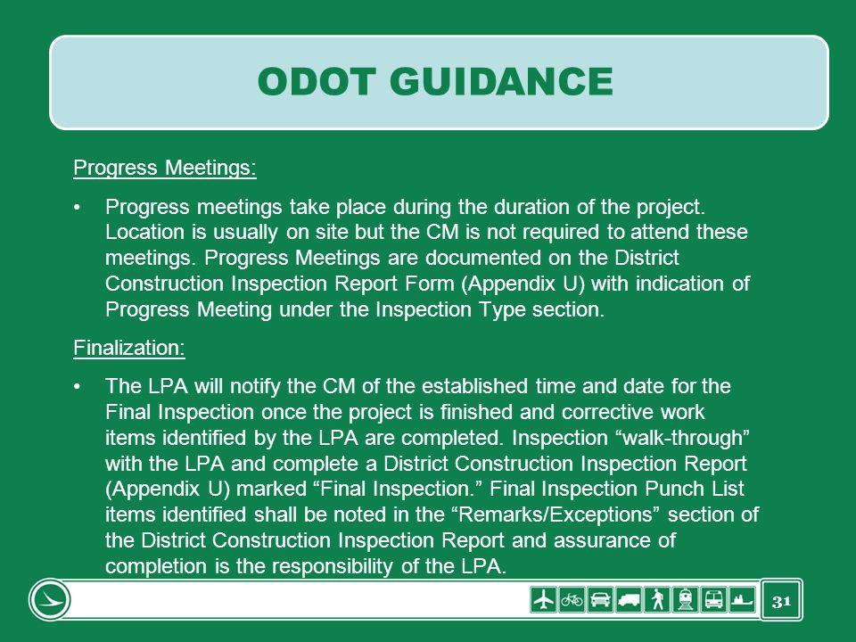 ODOT GUIDANCE Progress Meetings:
