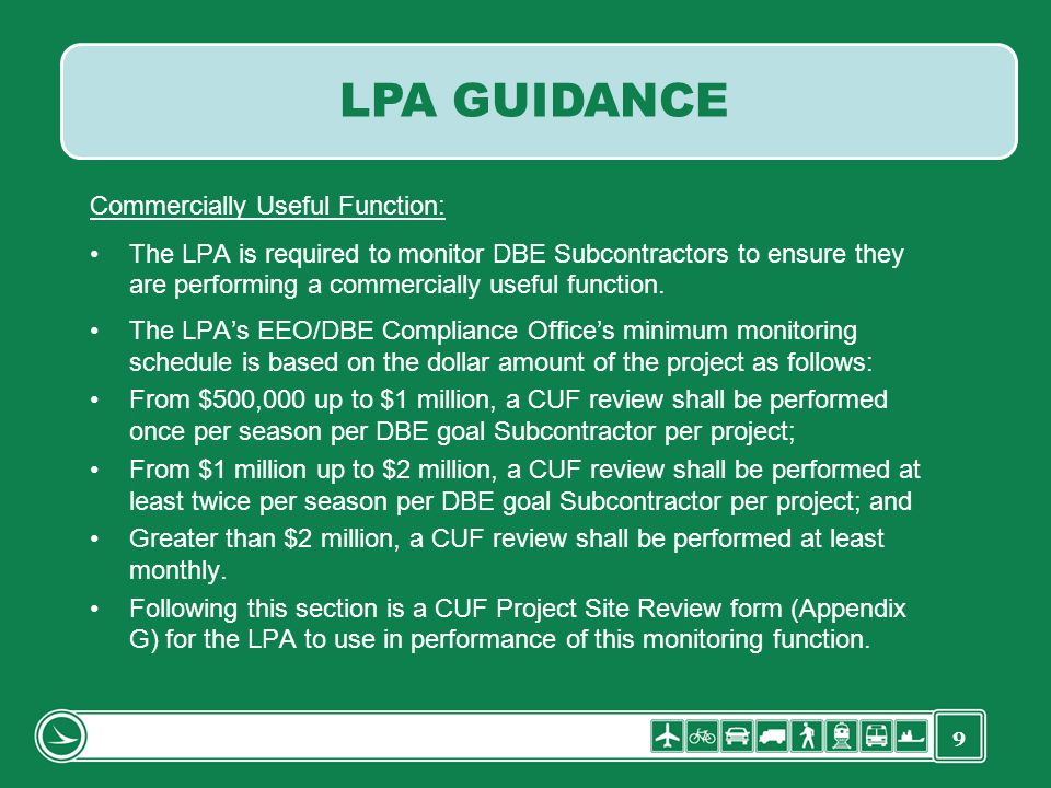 LPA GUIDANCE Commercially Useful Function:
