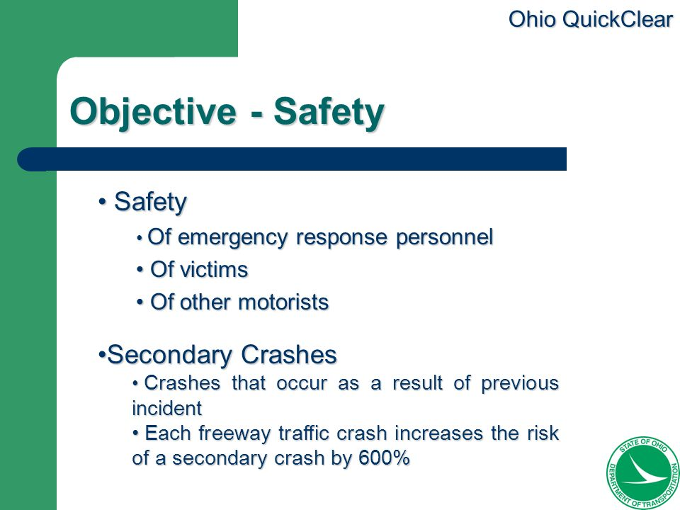 Objective - Safety Safety Secondary Crashes Of victims