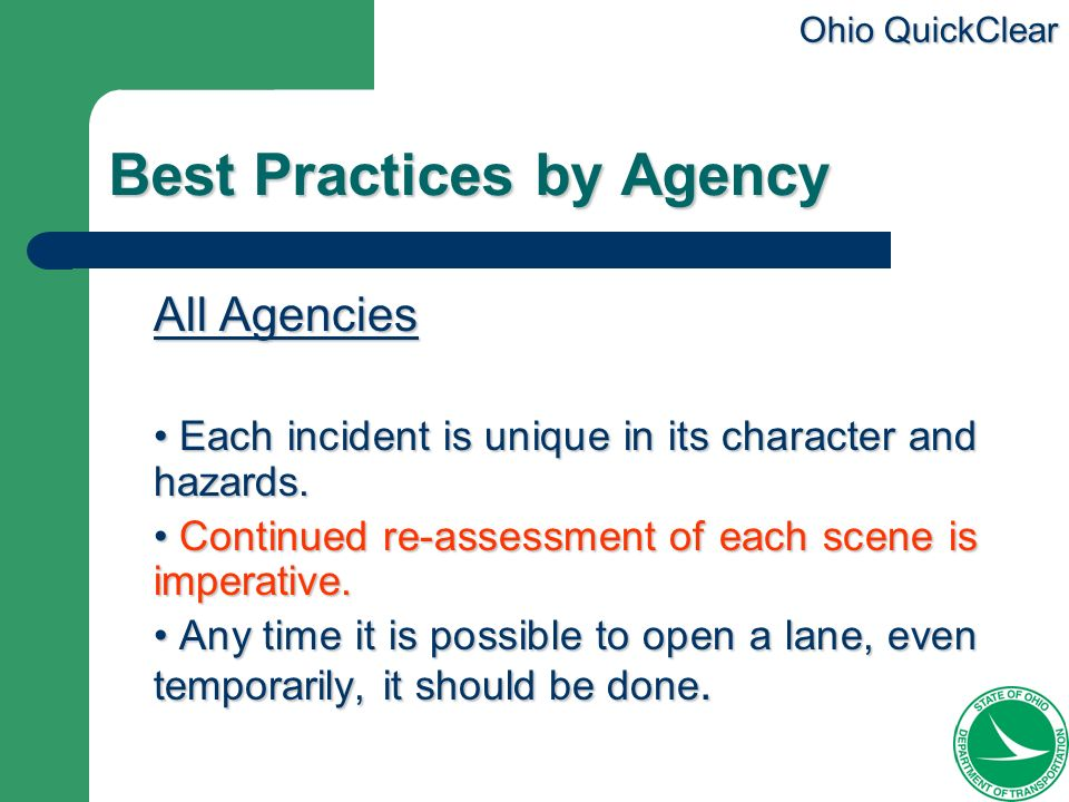 Best Practices by Agency