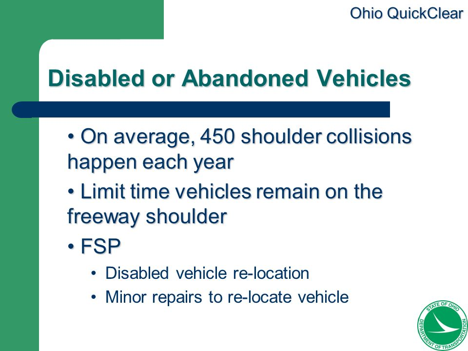 Disabled or Abandoned Vehicles