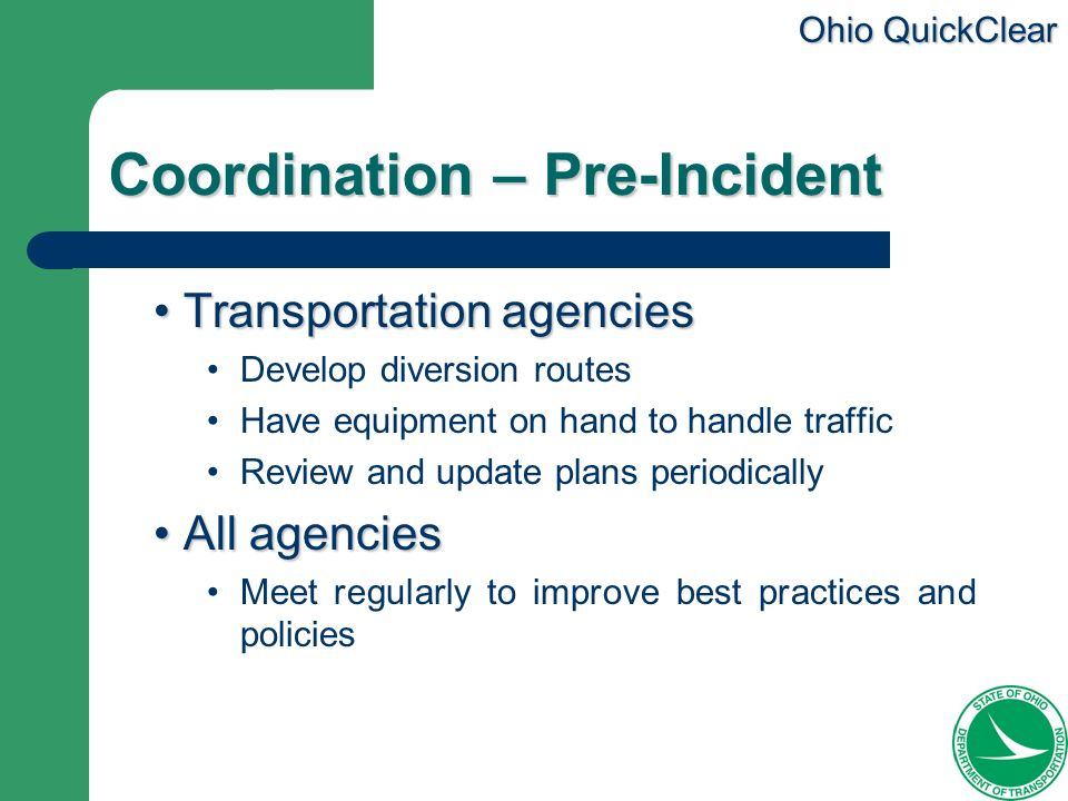 Coordination – Pre-Incident