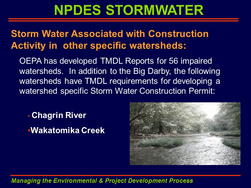 NPDES STORMWATER Storm Water Associated with Construction Activity in other specific watersheds: