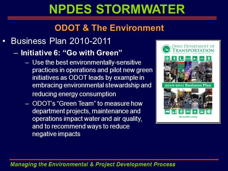 NPDES STORMWATER ODOT & The Environment Business Plan 2010-2011