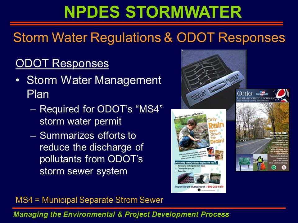 Storm Water Regulations & ODOT Responses