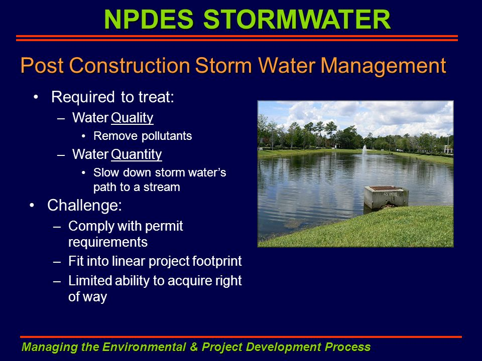 Post Construction Storm Water Management