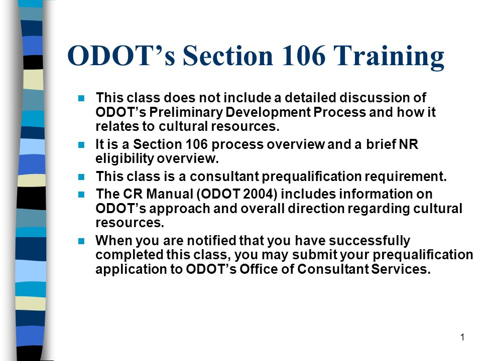ODOT's Section 106 Training