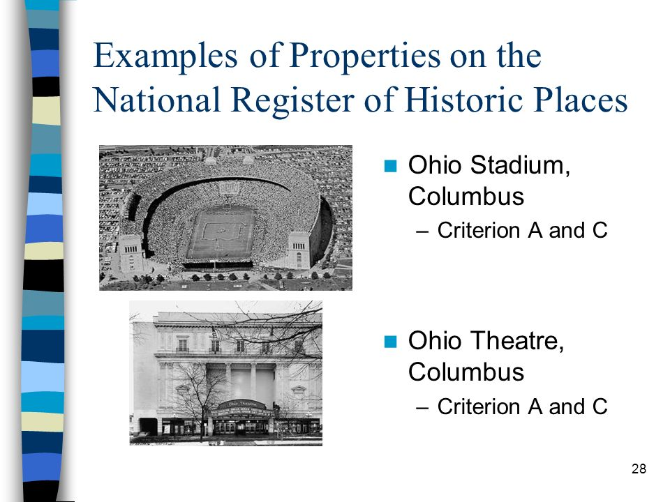 Examples of Properties on the National Register of Historic Places