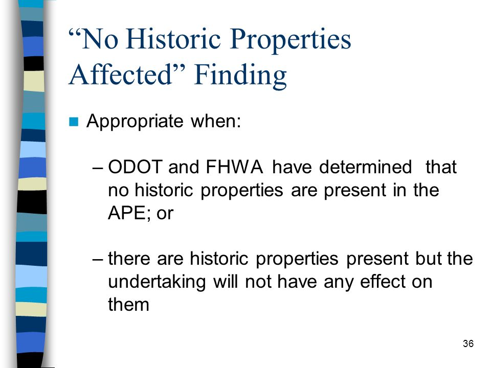 No Historic Properties Affected Finding