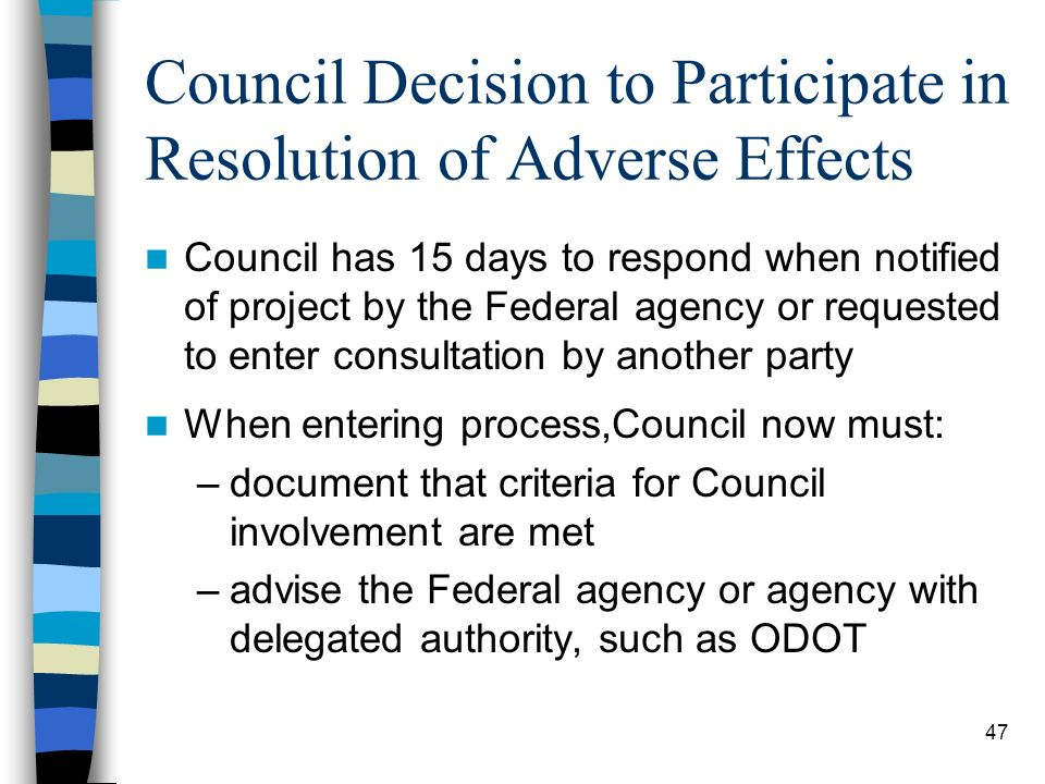 Council Decision to Participate in Resolution of Adverse Effects
