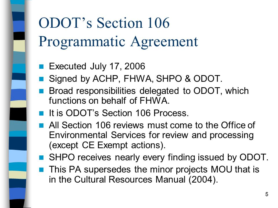 ODOT's Section 106 Programmatic Agreement