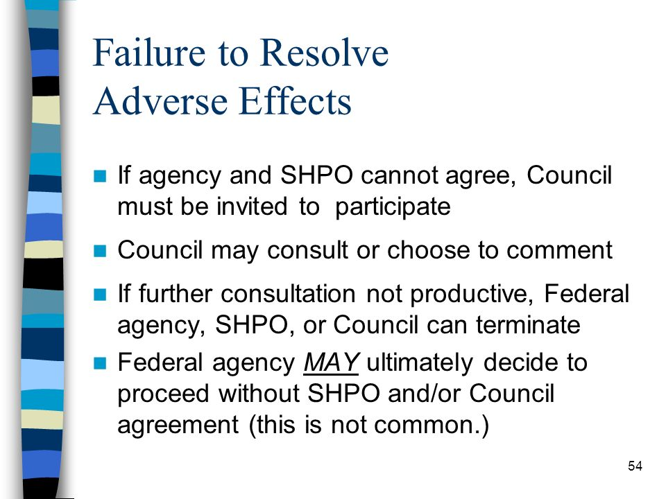 Failure to Resolve Adverse Effects