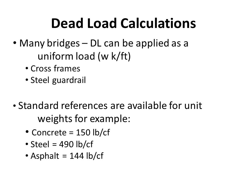 Dead Load Calculations