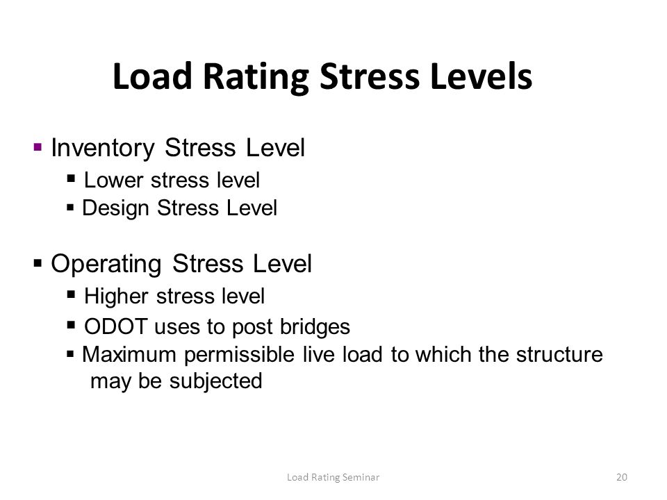 Load Rating Stress Levels