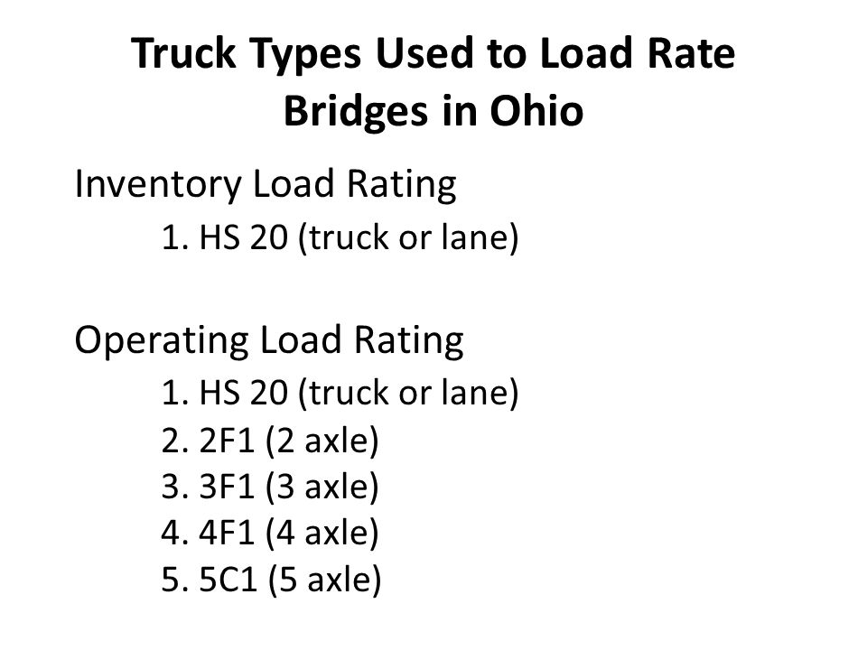 Truck Types Used to Load Rate Bridges in Ohio
