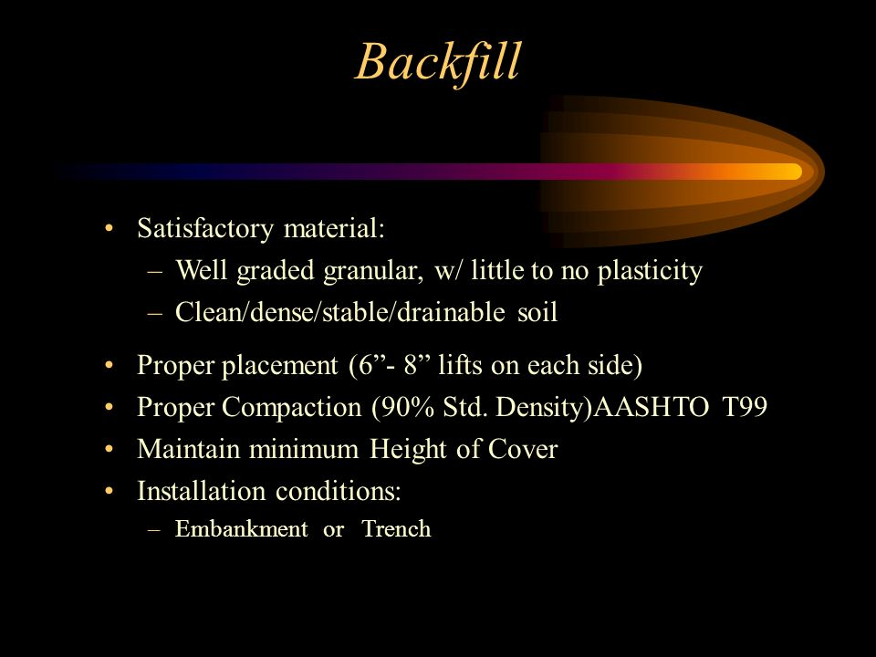 Backfill Satisfactory material: