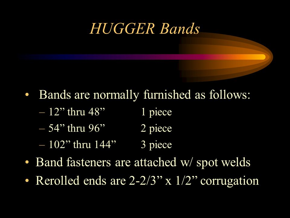 HUGGER Bands Bands are normally furnished as follows: