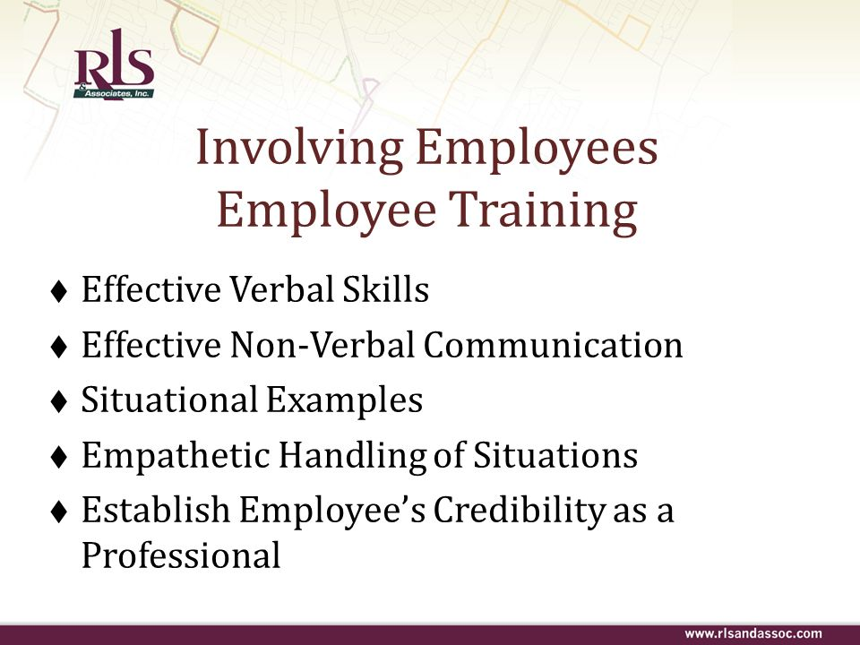 Involving Employees Employee Training