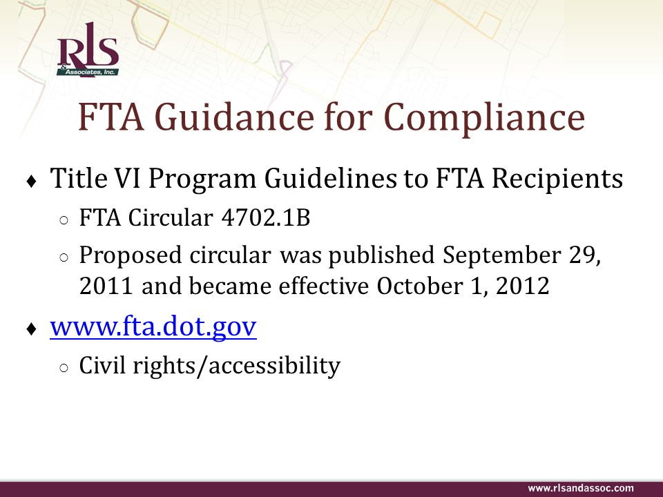 FTA Guidance for Compliance