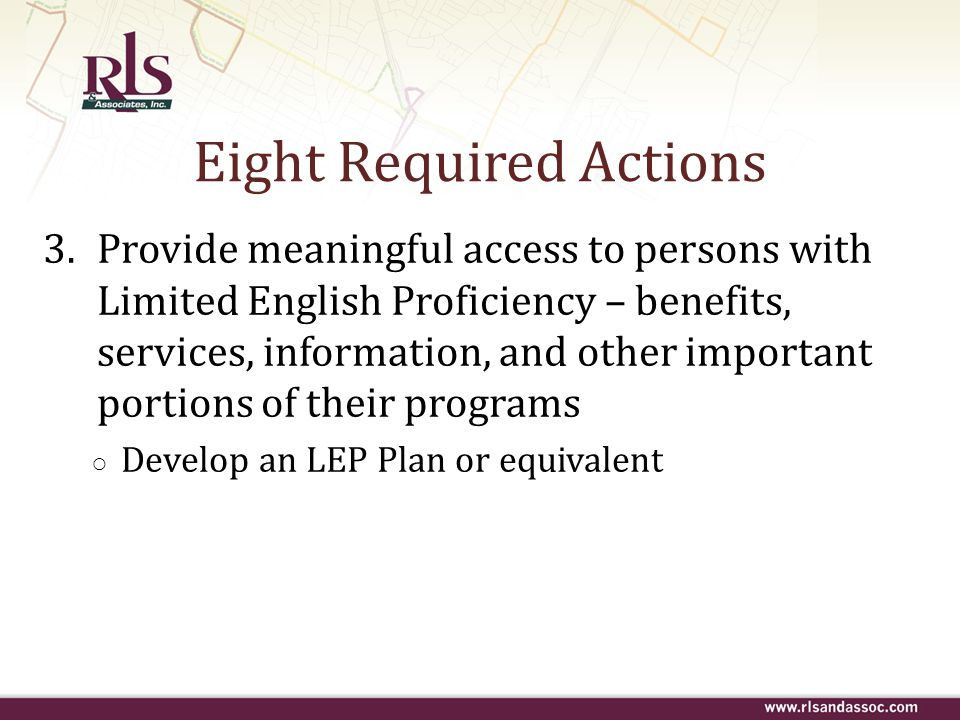 Eight Required Actions