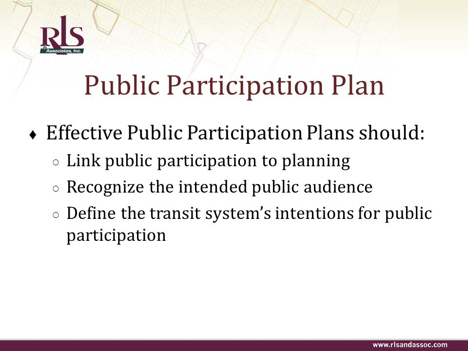 Public Participation Plan