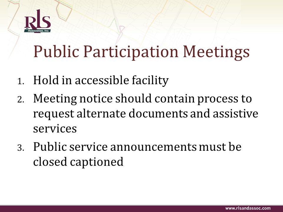Public Participation Meetings