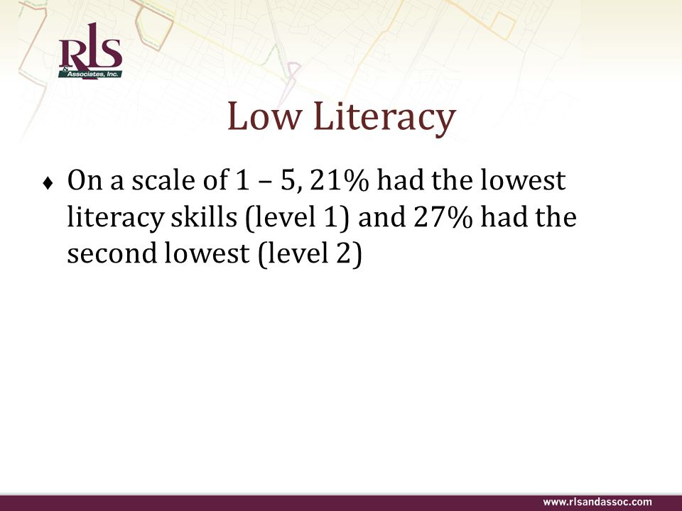Low Literacy On a scale of 1 – 5, 21% had the lowest literacy skills (level 1) and 27% had the second lowest (level 2)