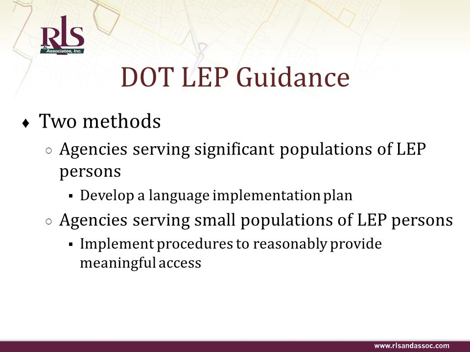 DOT LEP Guidance Two methods