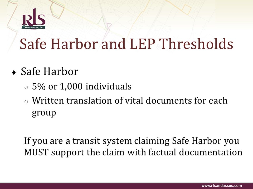Safe Harbor and LEP Thresholds