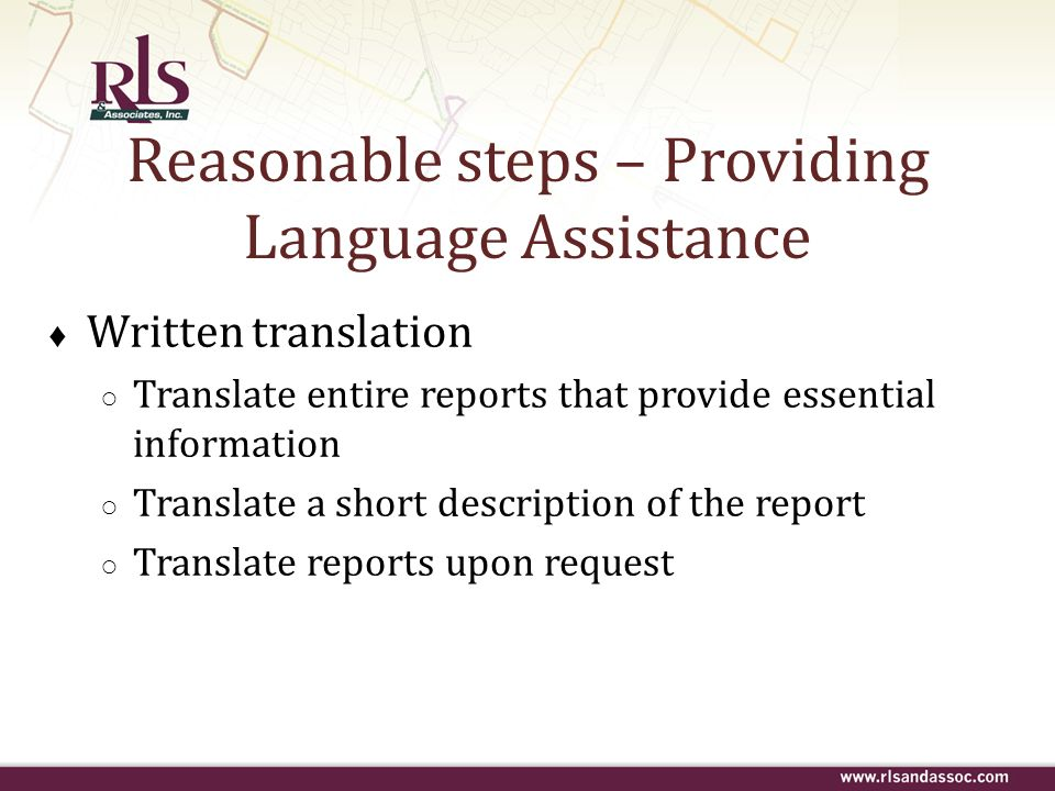Reasonable steps – Providing Language Assistance