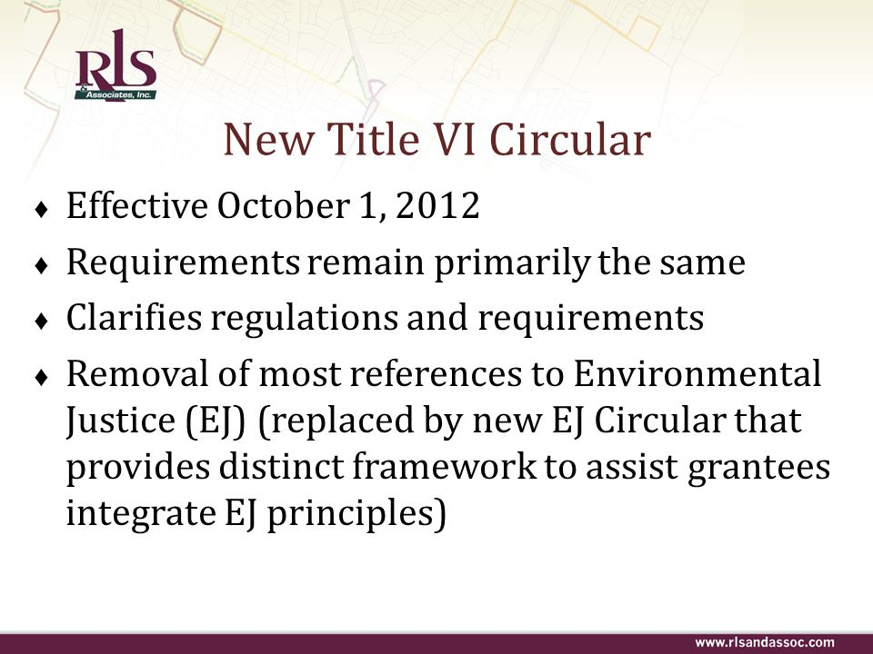 New Title VI Circular Effective October 1, 2012