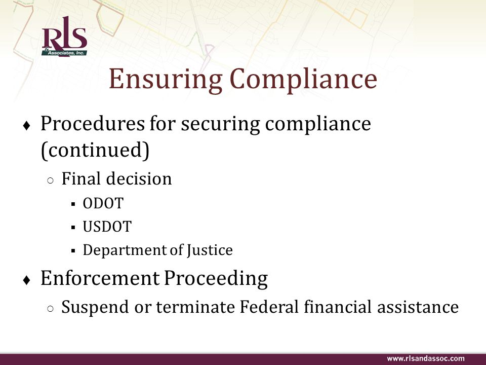 Ensuring Compliance Procedures for securing compliance (continued)