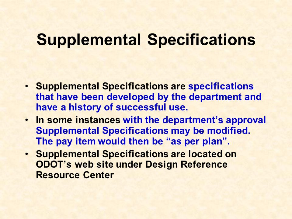 Supplemental Specifications