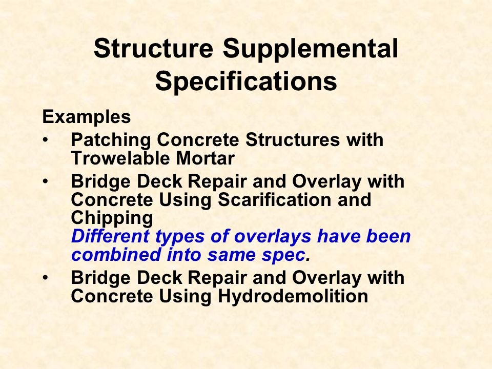 Structure Supplemental Specifications