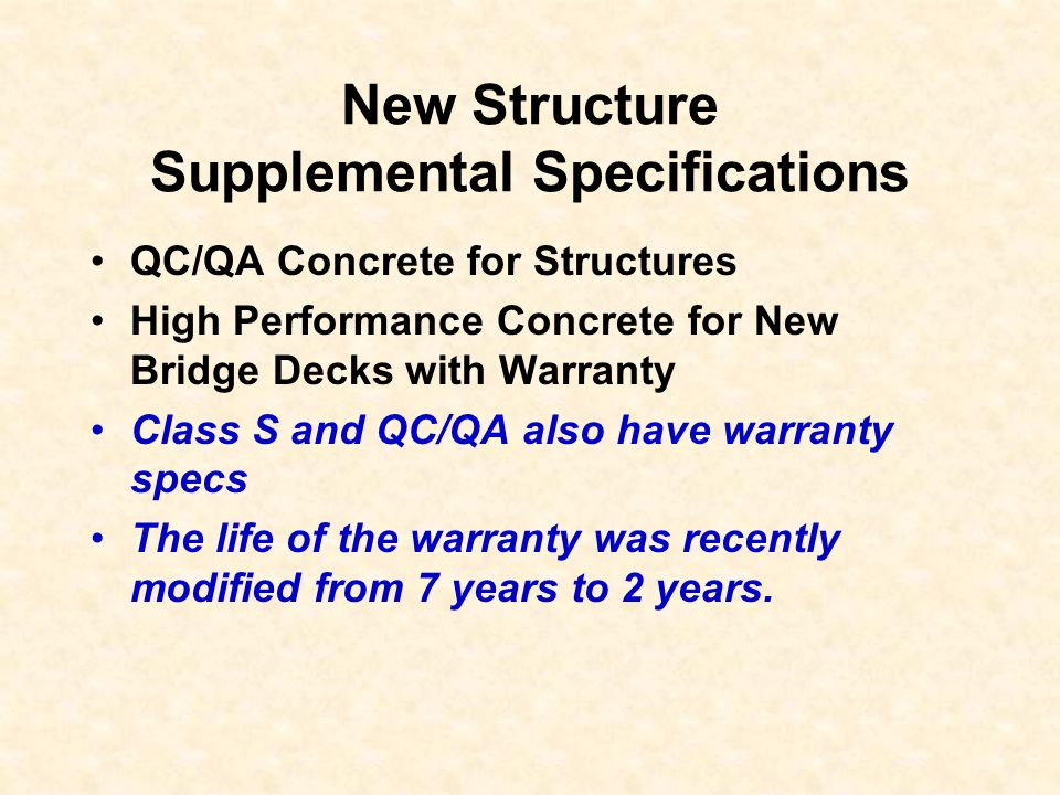 New Structure Supplemental Specifications