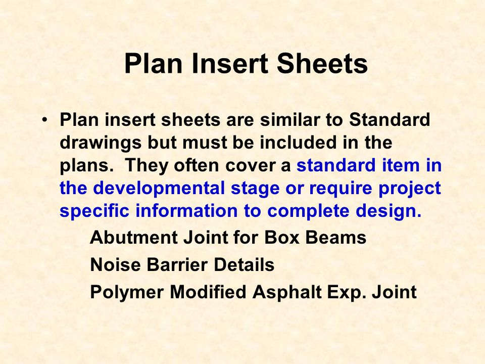 Plan Insert Sheets