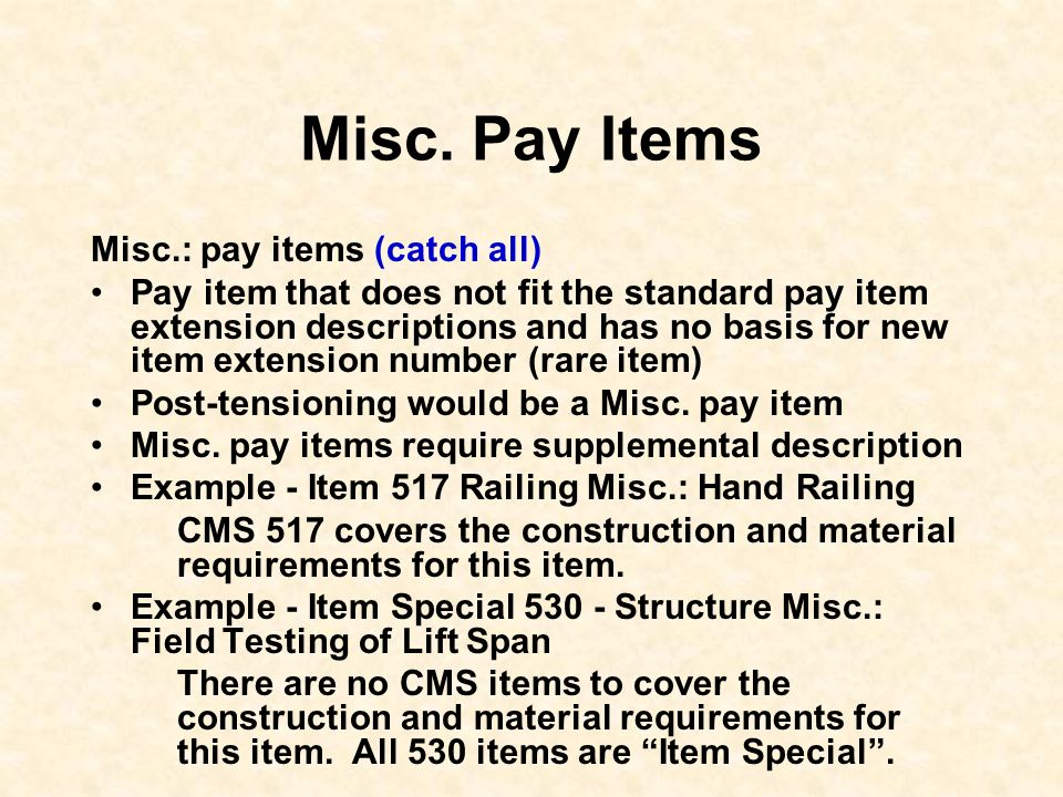 Misc. Pay Items Misc.: pay items (catch all)