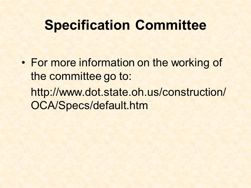Specification Committee
