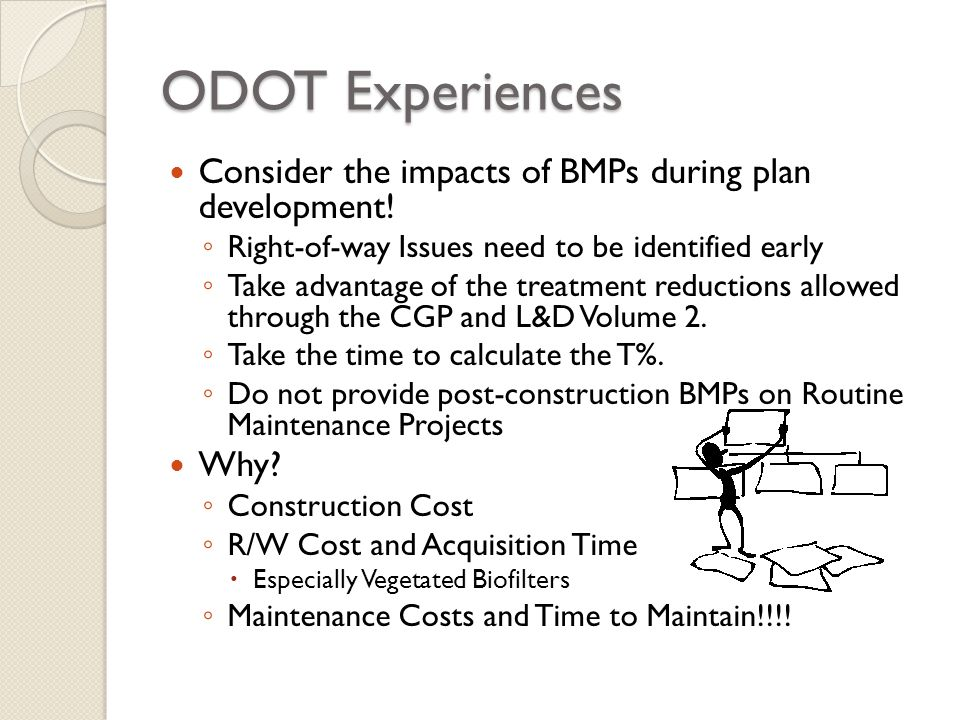 ODOT Experiences Consider the impacts of BMPs during plan development!